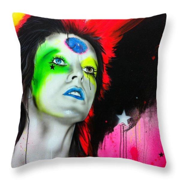 'ziggy Played Guitar' Throw Pillow by Christian Chapman Art