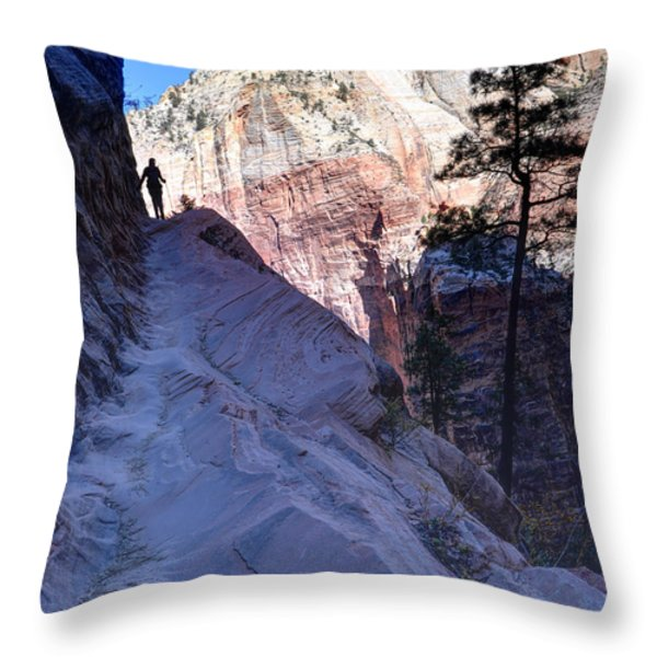 Zion National Park Hiker Climbs Hidden Canyon Trail Throw Pillow by Gary Whitton