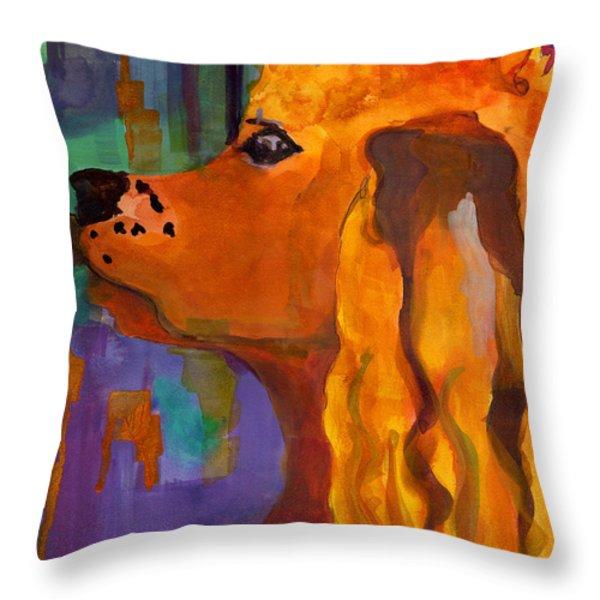 Zippy Dog Art Throw Pillow by Blenda Studio