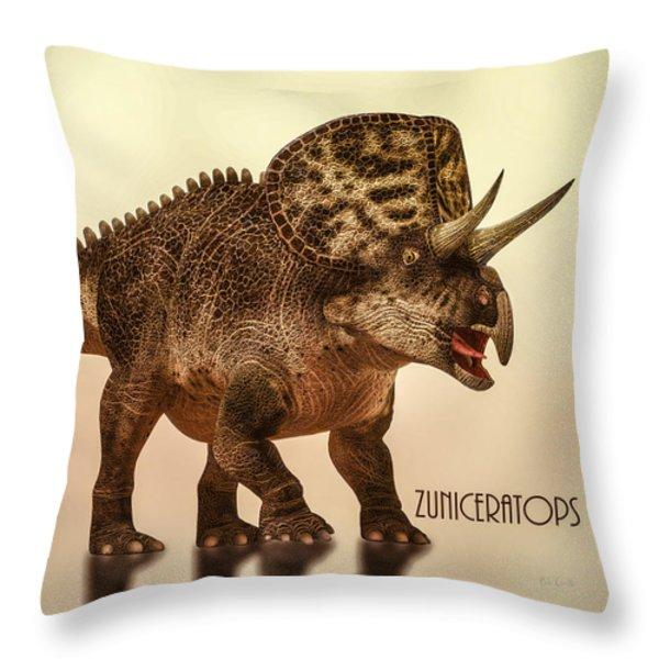 Zuniceratops Dinosaur Throw Pillow by Bob Orsillo