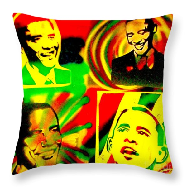 4 Rasta Obama Throw Pillow by TONY B CONSCIOUS
