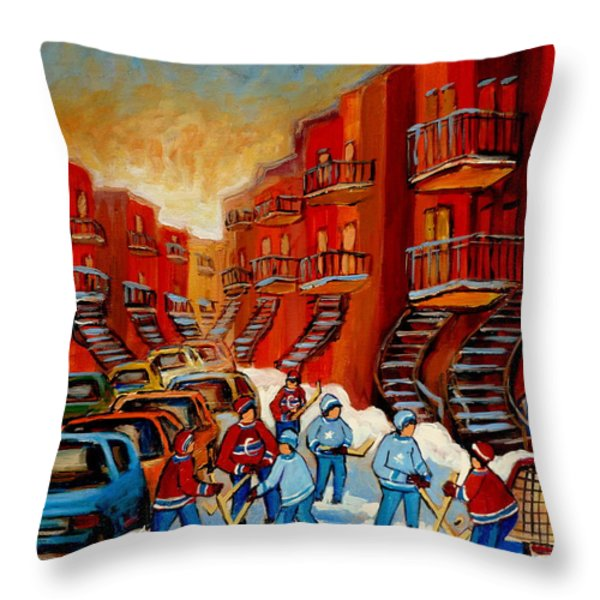 A Beautiful Day For The Game Throw Pillow by Carole Spandau