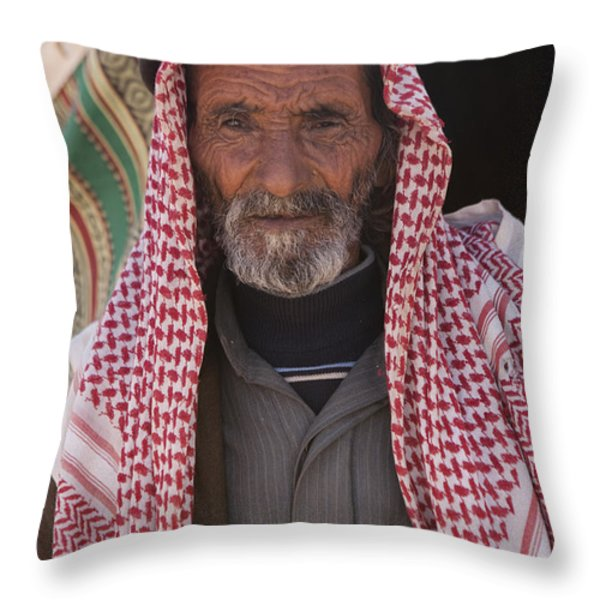 A Bedouin Man At The Camera In Front Throw Pillow by Taylor S. Kennedy
