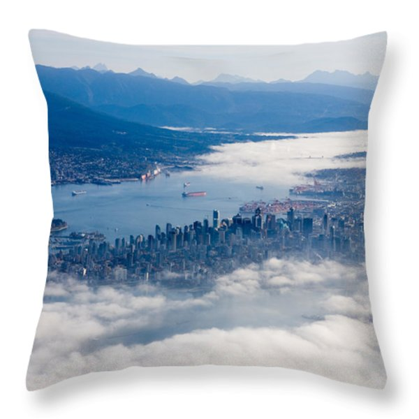 An Aerial View Of Vancouver Throw Pillow by Taylor S. Kennedy