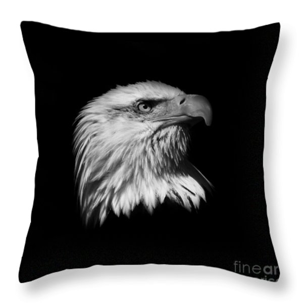 Black And White American Eagle Throw Pillow by Steve McKinzie