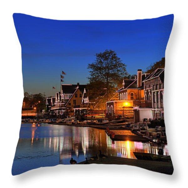 Boathouse Row  Throw Pillow by John Greim