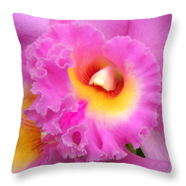 Cattleya Orchid 1 Throw Pillow by Julie Palencia