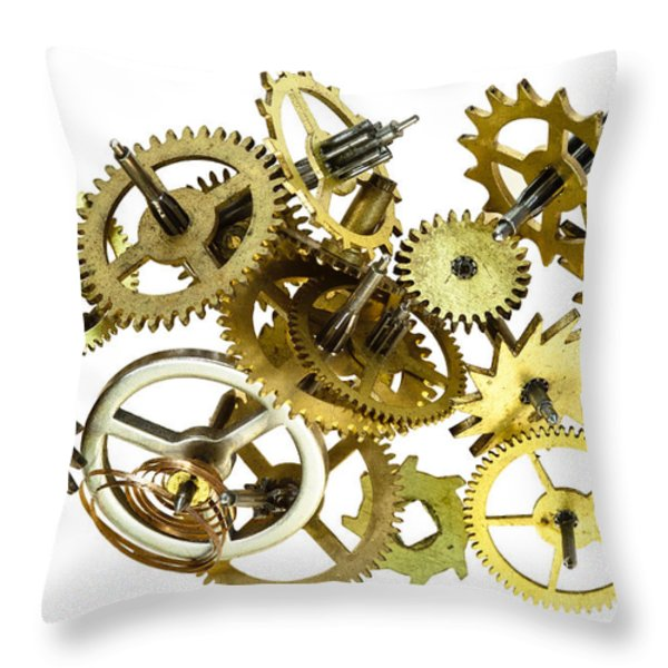 Clockwork Mechanism Throw Pillow by Michal Boubin