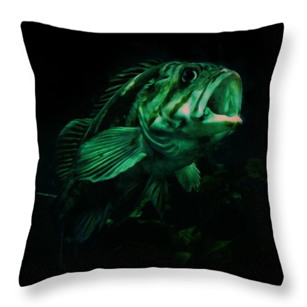 Green Fish Throw Pillow by Veronica Ventress