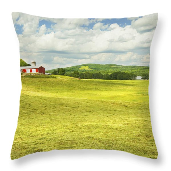 Hay harvesting In Field Outside Red Barn Maine Throw Pillow by Keith Webber Jr