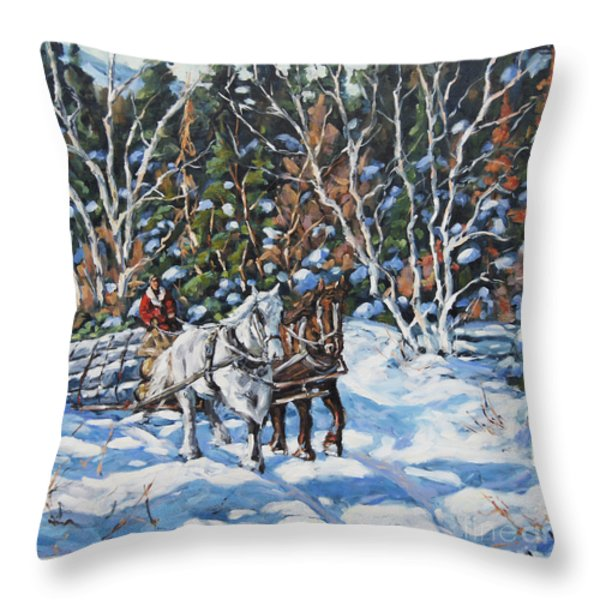Horses Hauling Wood In Winter By Prankearts Throw Pillow by Richard T Pranke
