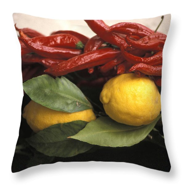Lemons And Dried Red Peppers  For Sale Throw Pillow by Richard Nowitz