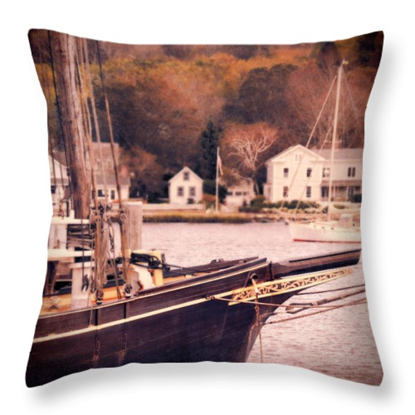 Old Ship Docked On The River Throw Pillow by Jill Battaglia
