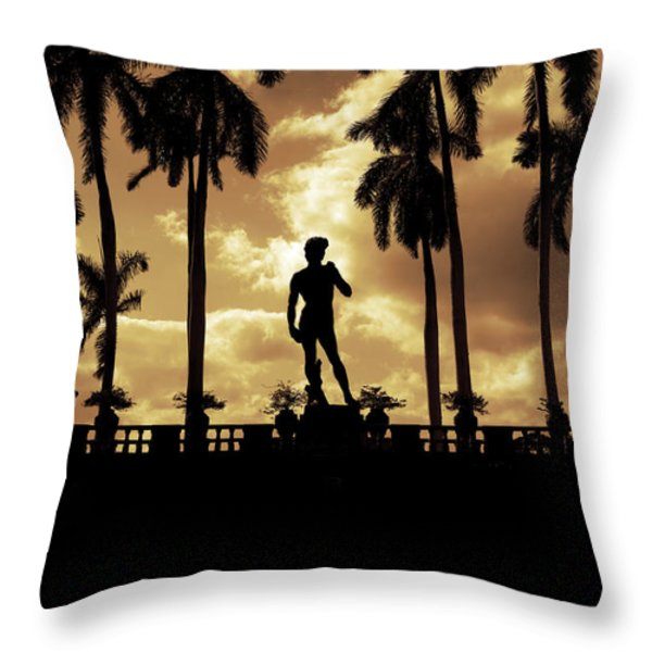 Replica of the Michelangelo statue at Ringling Museum Sarasota Florida Throw Pillow by Mal Bray