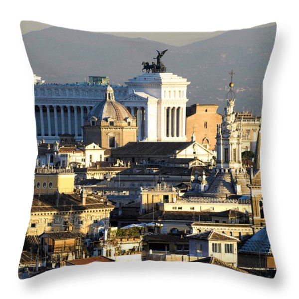 Rome's rooftops Throw Pillow by Fabrizio Troiani