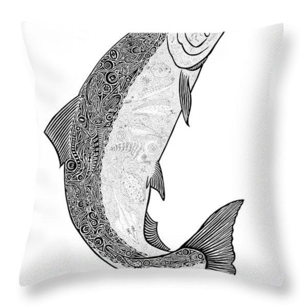 Salmon II Throw Pillow by Carol Lynne