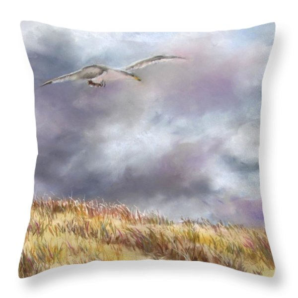 Seagull Flying Over Dunes Throw Pillow by Jack Skinner