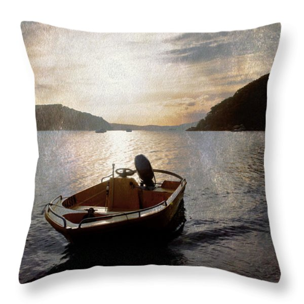 Sunset At Careel Bay Throw Pillow by Sheila Smart