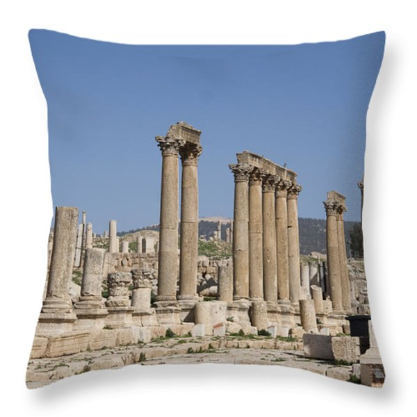 The Oval Plaza In The Ruins Throw Pillow by Taylor S. Kennedy
