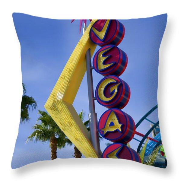 Vegas Sign Throw Pillow by Garry Gay