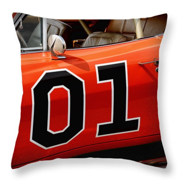 01 - The General Lee 1969 Dodge Charger Throw Pillow by Gordon Dean II