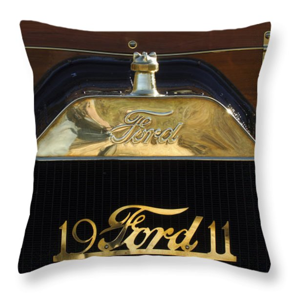 1911 Ford Model T Torpedo Hood Ornament Throw Pillow by Jill Reger