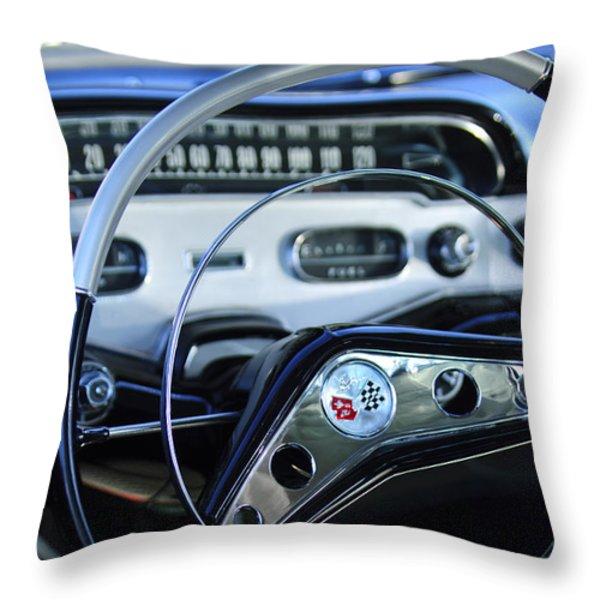 1958 Chevrolet Impala Steering Wheel Throw Pillow by Jill Reger