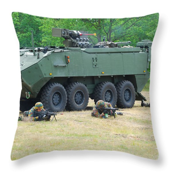 A Belgian Army Piranha Iiic With The Fn Throw Pillow by Luc De Jaeger