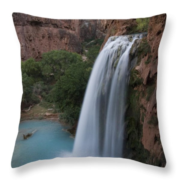 A Blue Waterfall Wets The Arid Throw Pillow by Taylor S. Kennedy