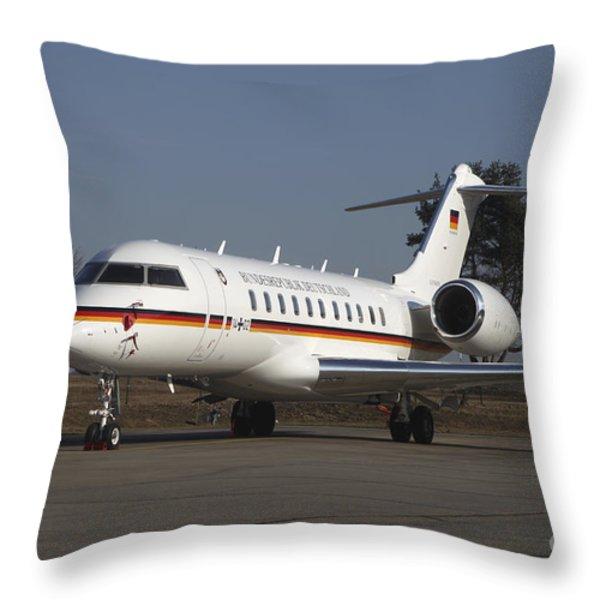 A Bombardier Global 5000 Vip Jet Throw Pillow by Timm Ziegenthaler
