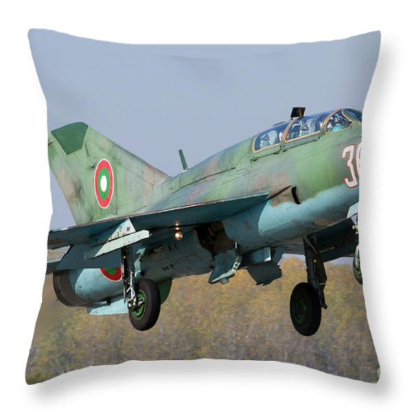 A Bulgarian Air Force Mig-21um Jet Throw Pillow by Anton Balakchiev