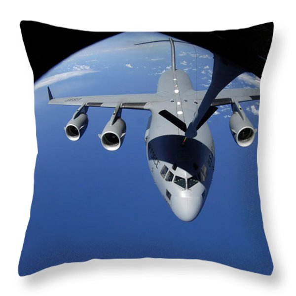 A C-17 Globemaster Iii Receives Fuel Throw Pillow by Stocktrek Images