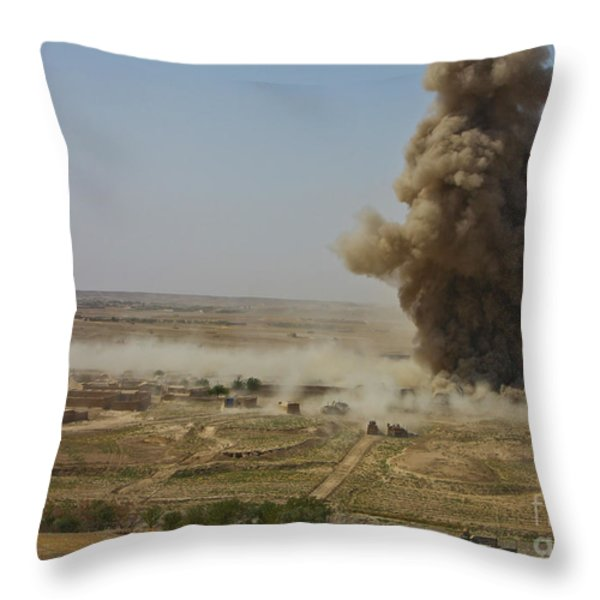 A Cloud Of Dust And Debris Rises Throw Pillow by Stocktrek Images