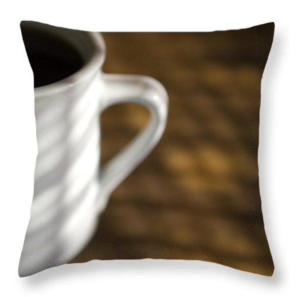 A Cup Of Coffee At A Diner Throw Pillow by John Burcham
