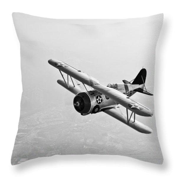 A Grumman F3f Biplane In Flight Throw Pillow by Scott Germain