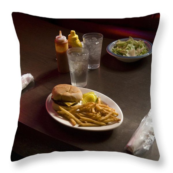 A Hamburger Lunch At A Restaurant Throw Pillow by Joel Sartore