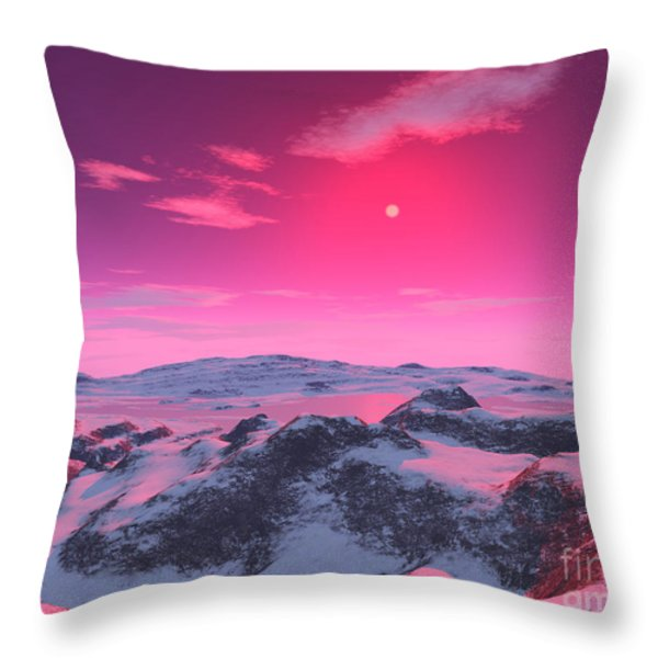 A Hypothetical Planet Orbiting A Red Throw Pillow by Ron Miller