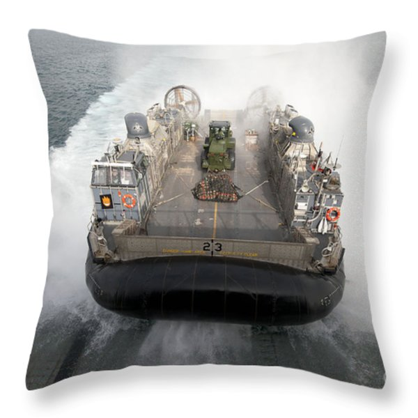 A Landing Craft Air Cushion Enters Throw Pillow by Stocktrek Images