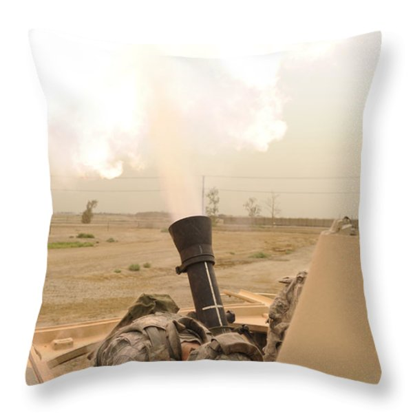 A M120 Mortar System Is Fired Throw Pillow by Stocktrek Images