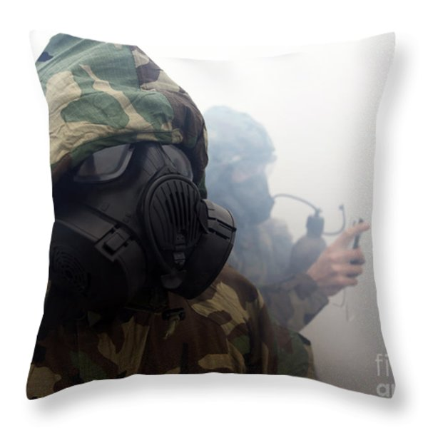 A Marine Wearing A Gas Mask Throw Pillow by Stocktrek Images