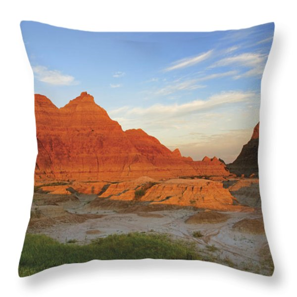 A Red Sunrise Illuminates The Hills In Throw Pillow by Philippe Widling