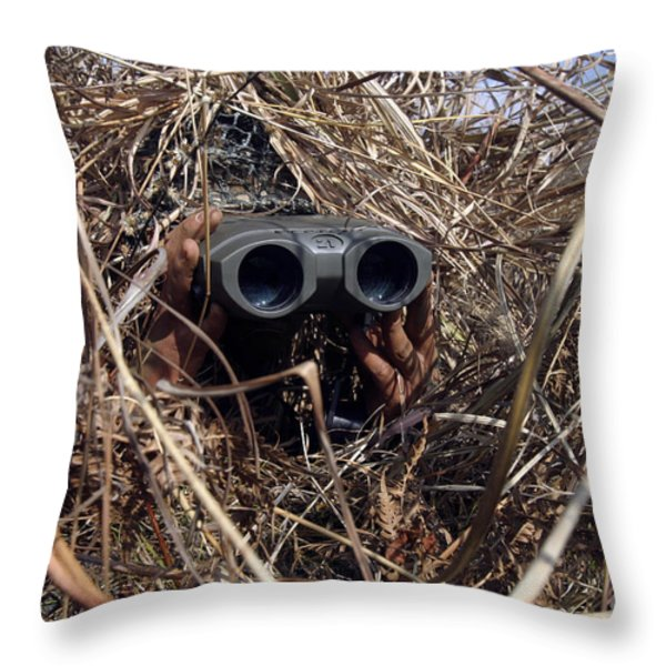 A Scout Observer Practices Observation Throw Pillow by Stocktrek Images