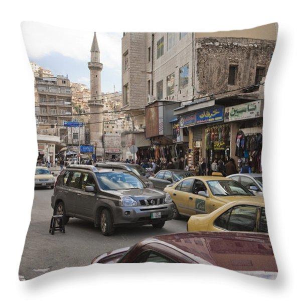 A Street Scene In Amman, Jordan Throw Pillow by Taylor S. Kennedy