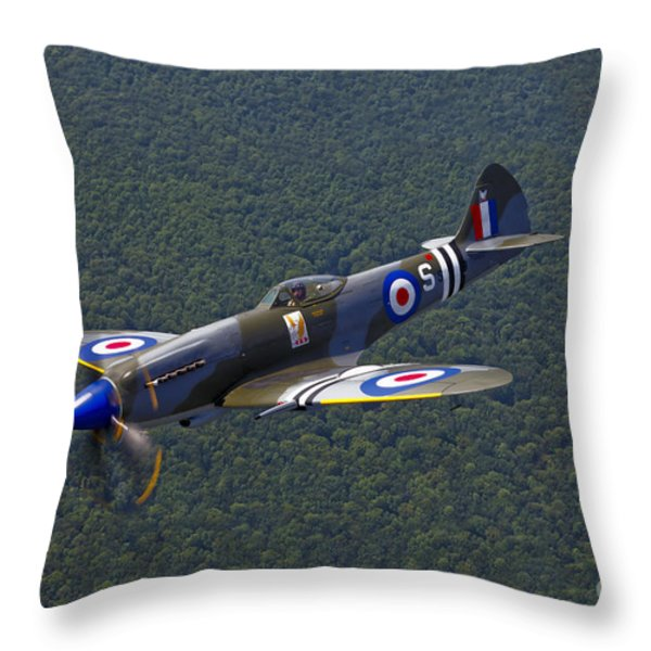 A Supermarine Spitfire Mk-18 In Flight Throw Pillow by Scott Germain