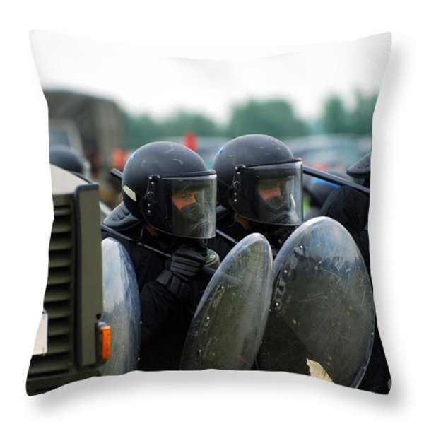 A Training Session In Riot And Crowd Throw Pillow by Luc De Jaeger