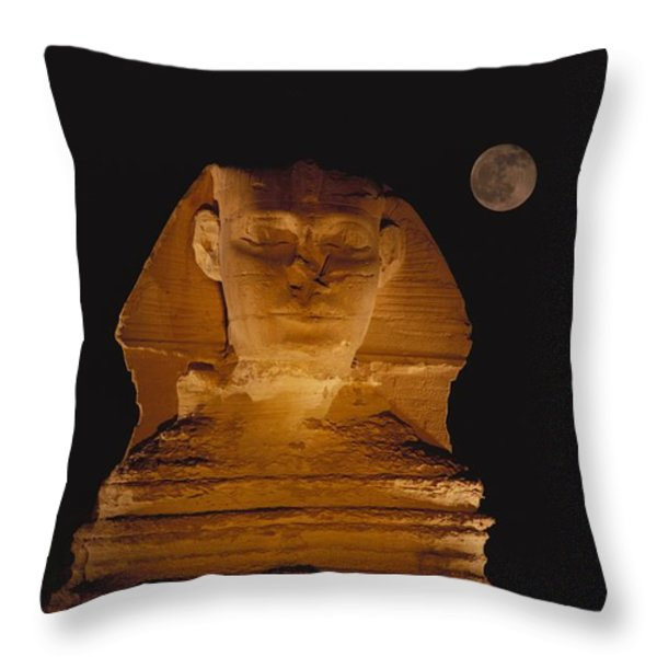 A View Of The Great Sphinx At Night Throw Pillow by Bill Ellzey