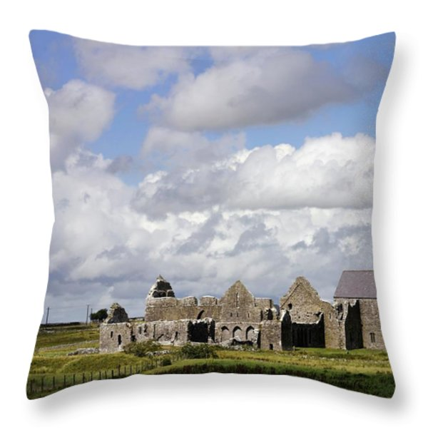 Abbeyknockmoy, Cistercian Abbey Of Throw Pillow by The Irish Image Collection