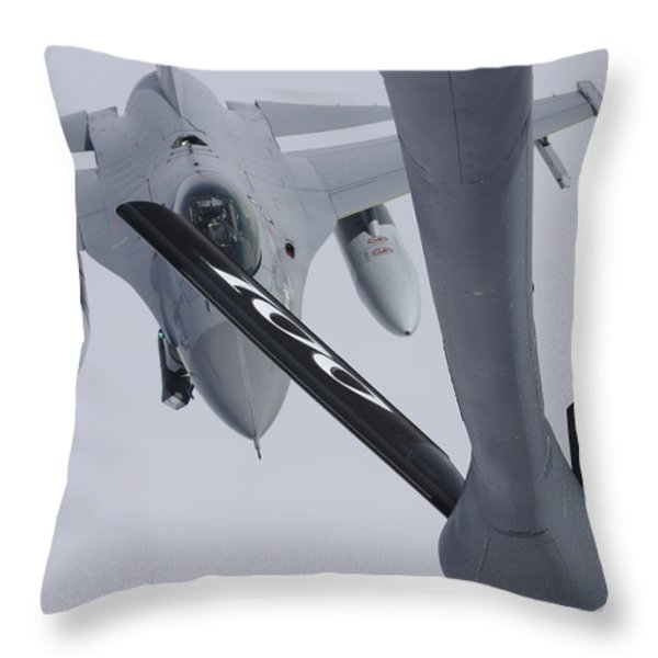 Air Refueling A Norwegian Air Force Throw Pillow by Daniel Karlsson