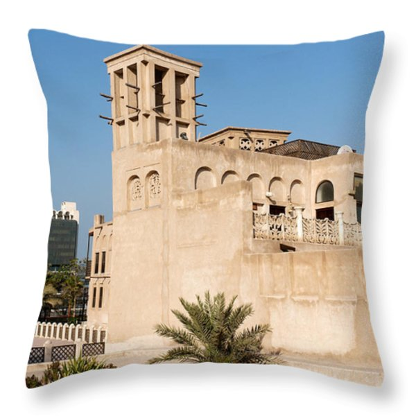 Al Bastakiya district Throw Pillow by Fabrizio Troiani