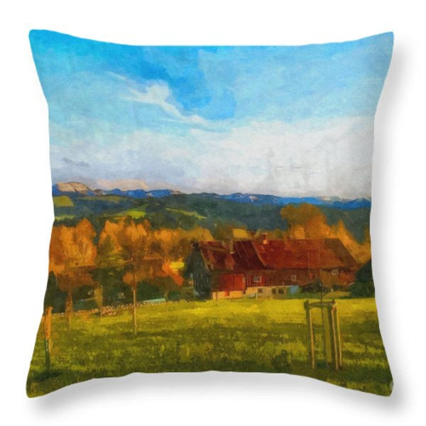 Alpine View Throw Pillow by Jutta Maria Pusl